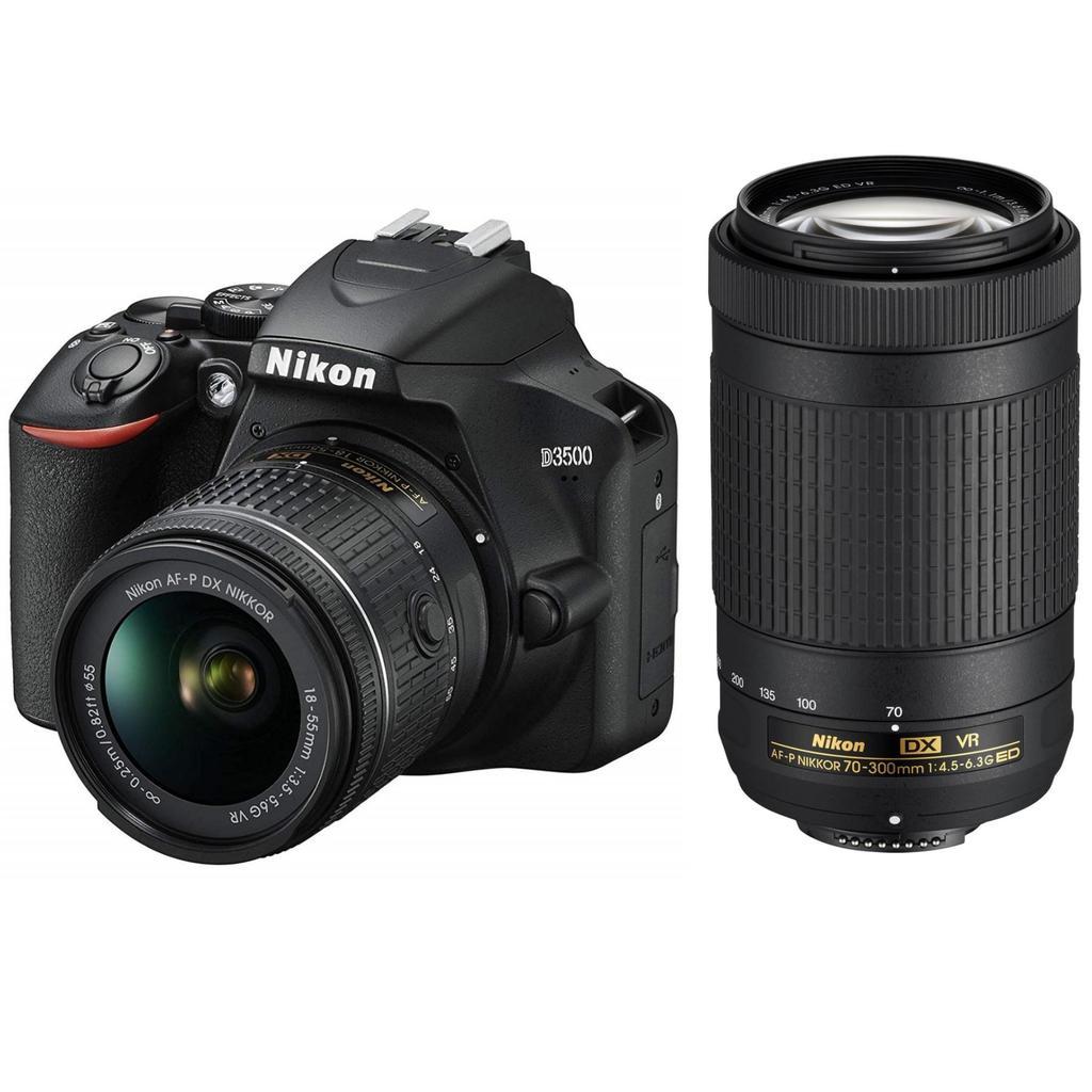 Nikon D3500 + 18-55mm AF-P DX VR + 70-300mm ED AF-P DX VR + Servis plus zdarma
