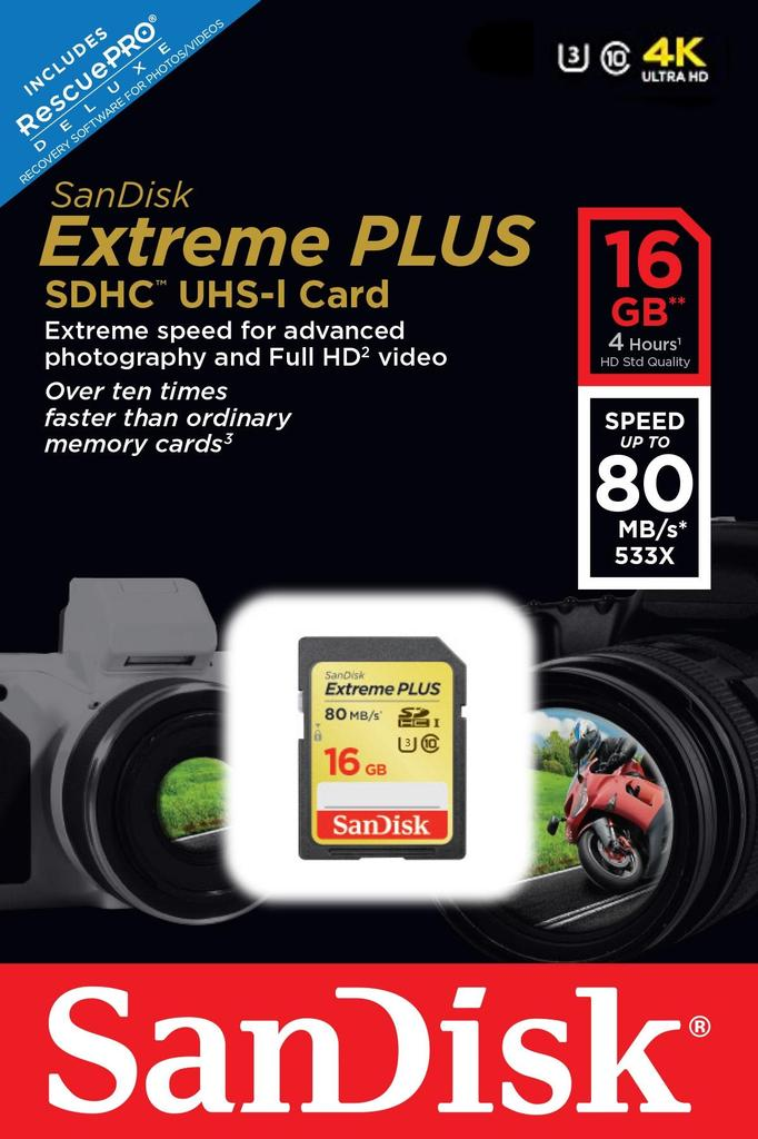 SanDisk SDHC Extreme Plus 16GB 4K