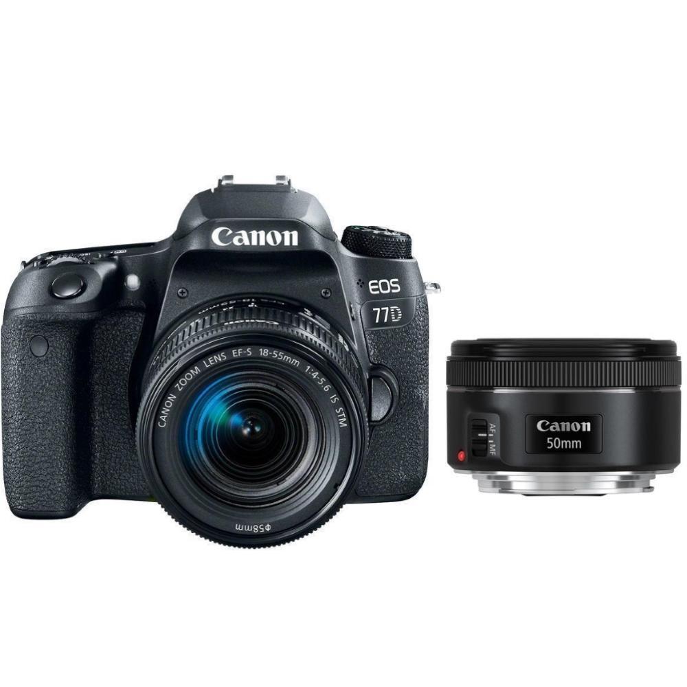 Canon EOS 77D + EF-S 18-55 IS STM + EF 50 f/1,8 + Servis plus zdarma