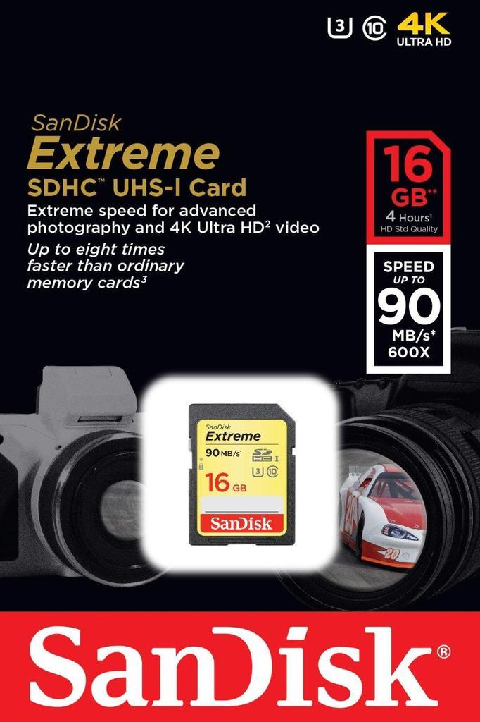 SanDisk SDHC Extreme 16GB UHS-I U3 Class 10