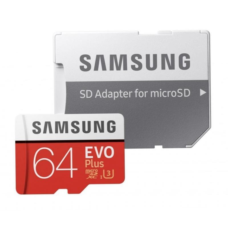 Samsung microSDXC Card 64 GB EVO Plus 100 MB/s (SD Adapter), MB-MC64GA