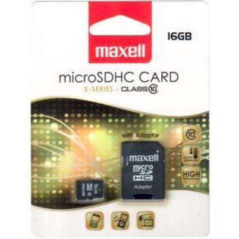 Maxell Micro SDHC 16GB CL10 + adapter