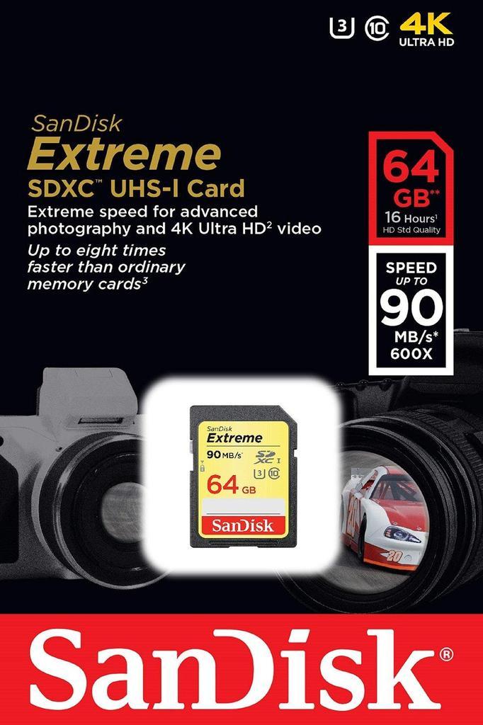 SanDisk SDXC Extreme 64GB UHS-I U3, CLASS 10
