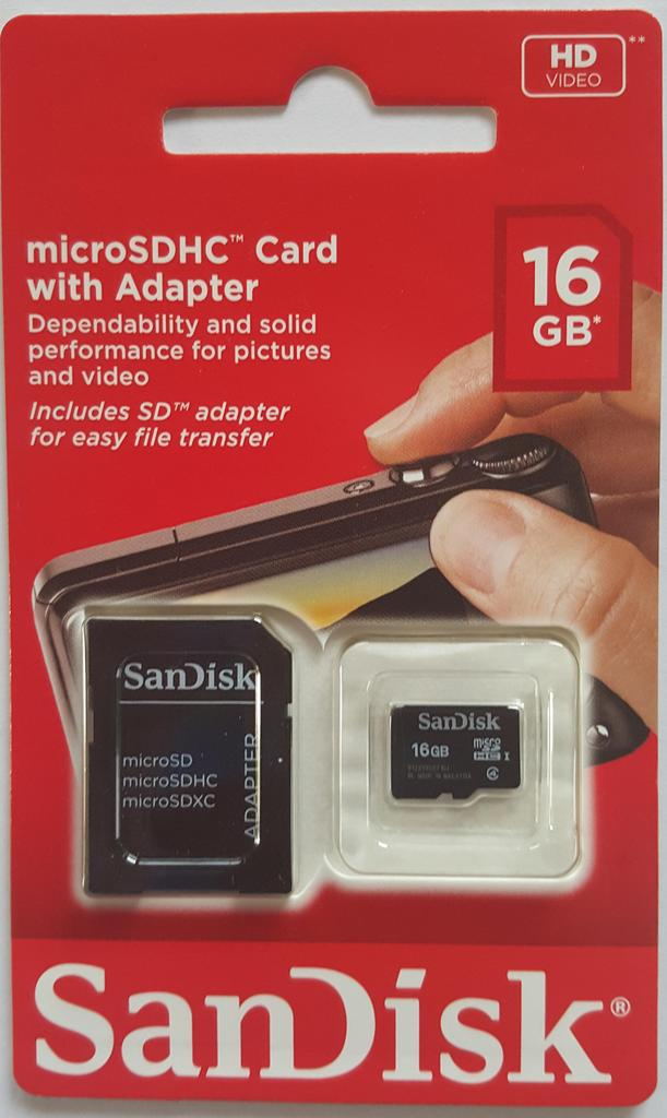 SanDisk SDHC 16GB Class 4 + adapter